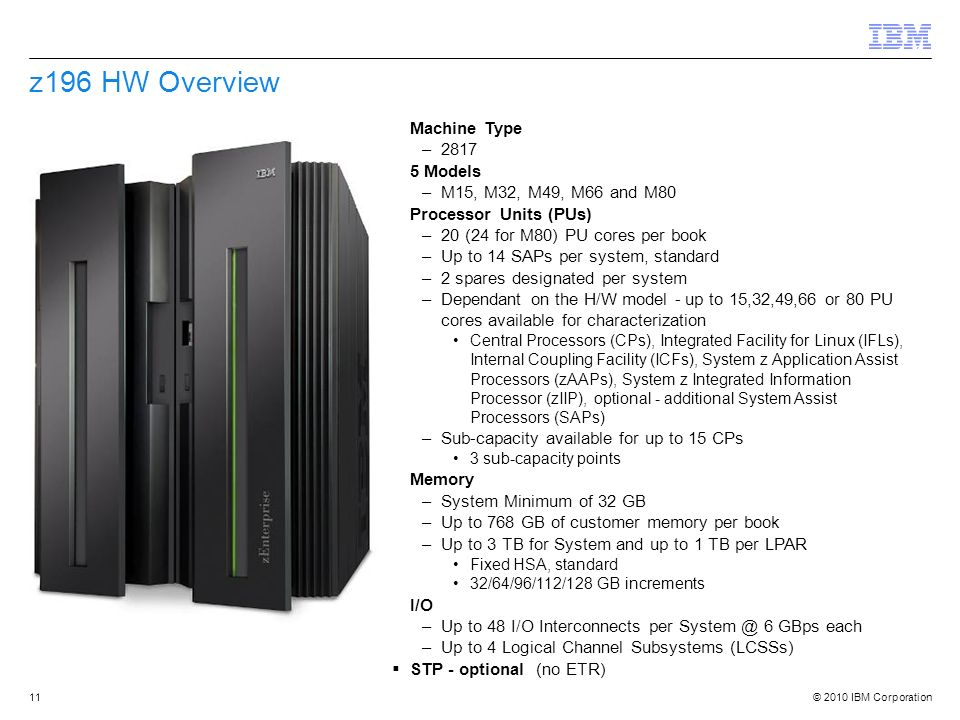z196 HW Overview Machine Type 2817 5 Models M15, M32, M49, M66 and M80