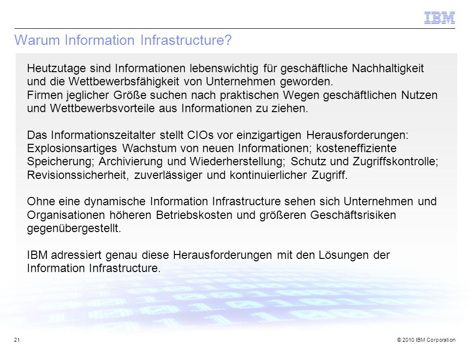 Warum Information Infrastructure