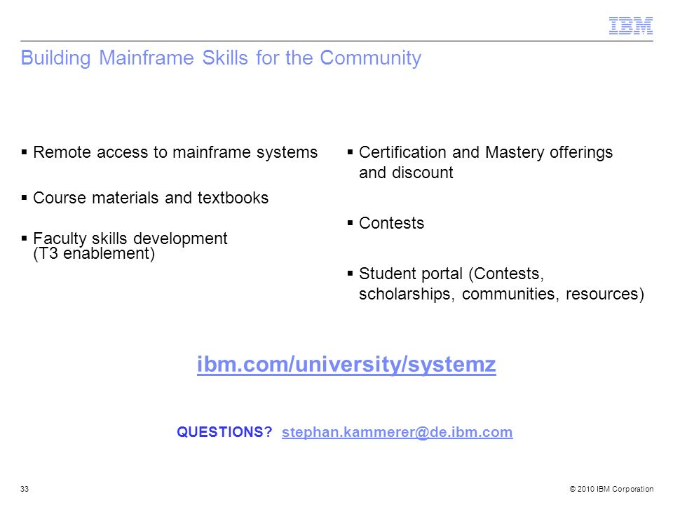 Building Mainframe Skills for the Community