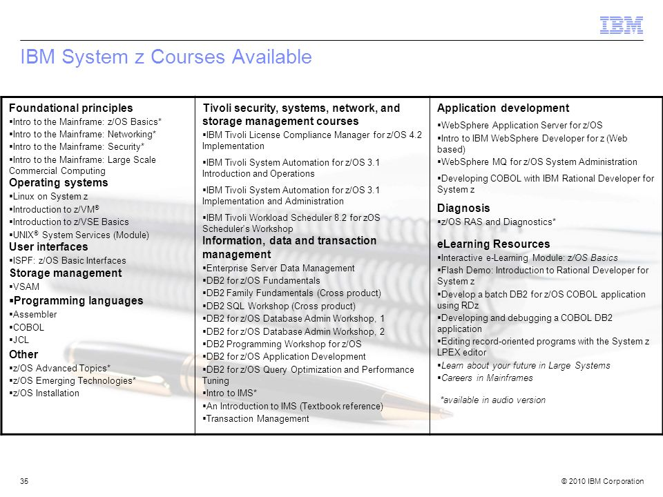 IBM System z Courses Available