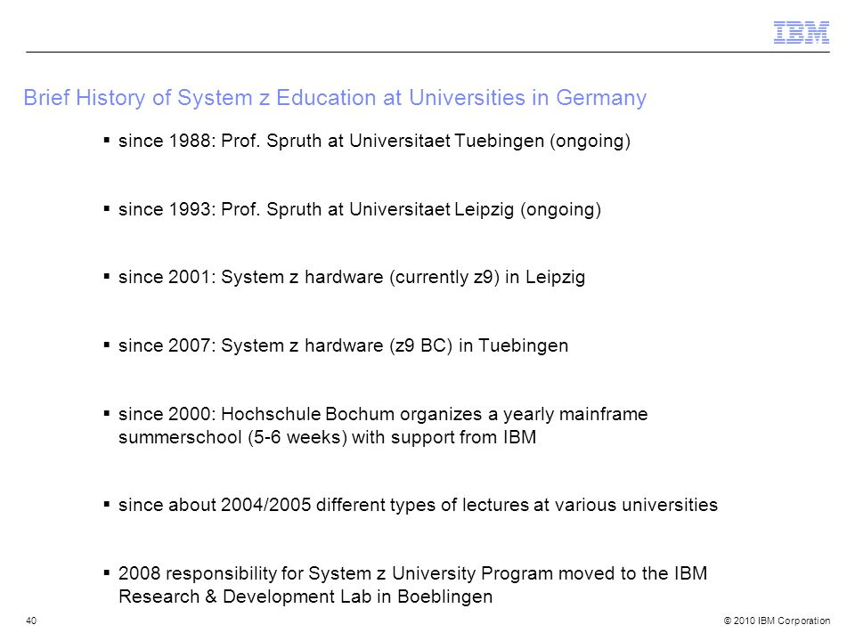 Brief History of System z Education at Universities in Germany
