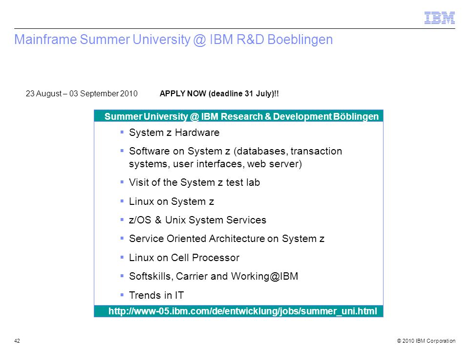 Mainframe Summer University @ IBM R&D Boeblingen