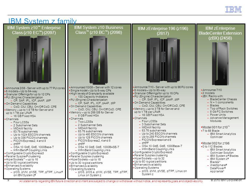 IBM System z family IBM System z10™ Enterprise Class (z10 EC™) (2097)
