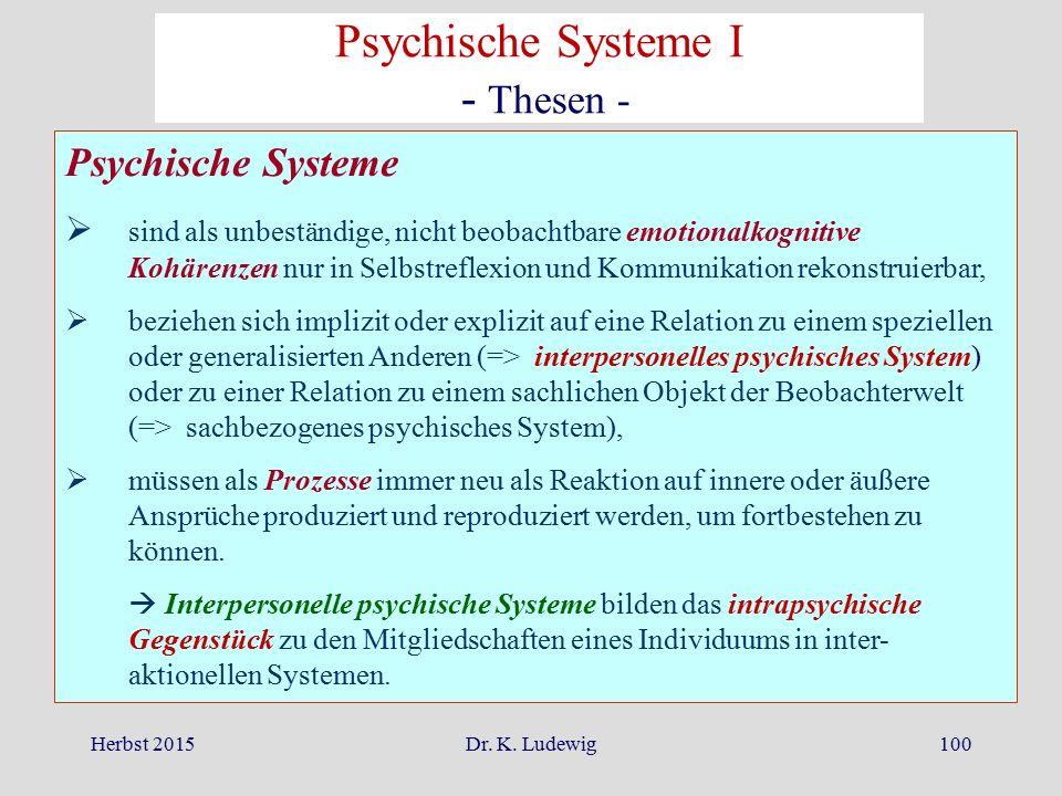 Psychische Systeme I - Thesen - Psychische Systeme
