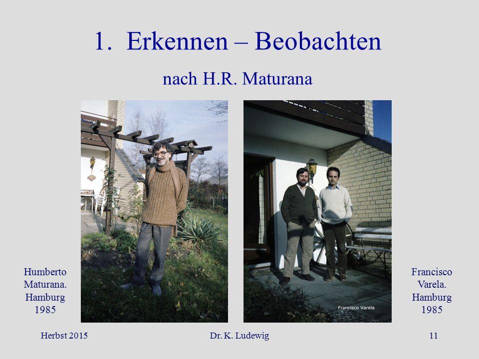 1. Erkennen – Beobachten nach H.R. Maturana Humberto Maturana. Hamburg