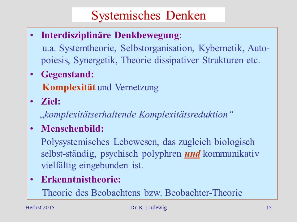 Systemisches Denken Interdisziplinäre Denkbewegung: