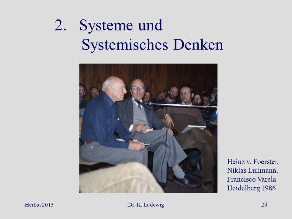 2. Systeme und Systemisches Denken Heinz v. Foerster, Niklas Luhmann,