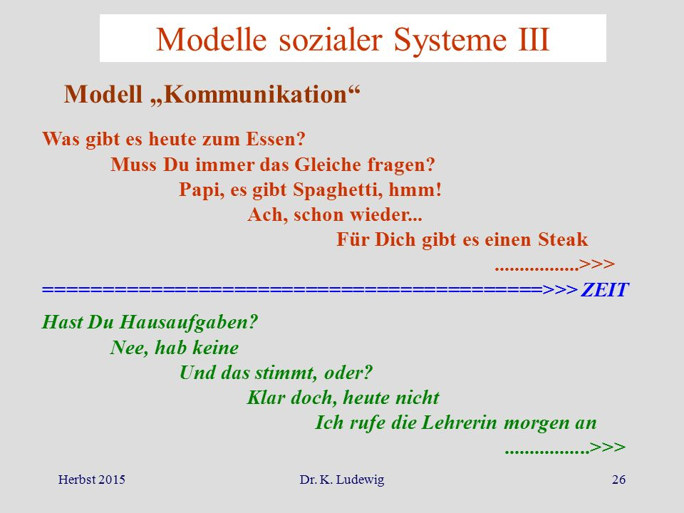 Modelle sozialer Systeme III