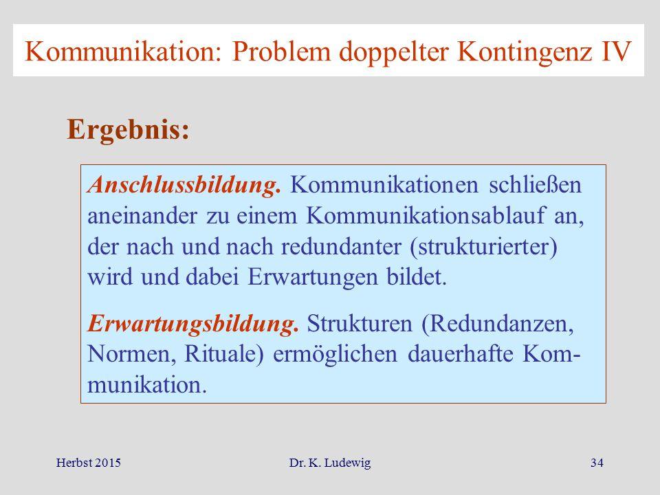Kommunikation: Problem doppelter Kontingenz IV