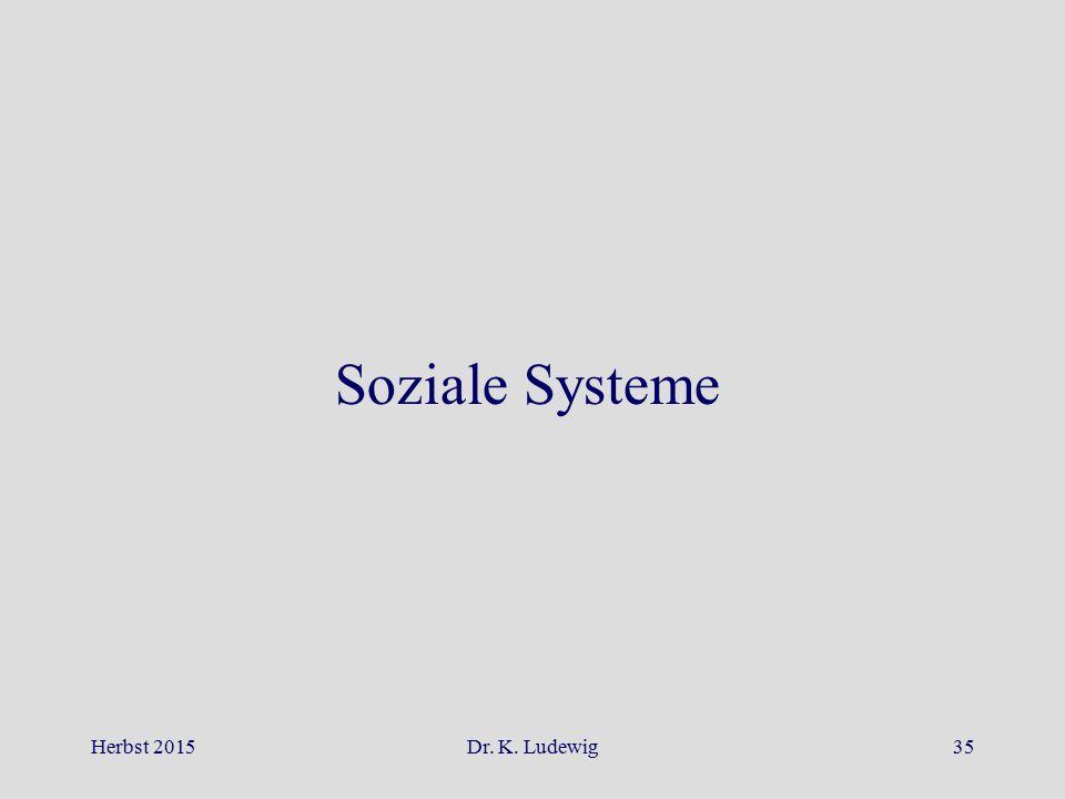 Soziale Systeme Herbst 2015 Dr. K. Ludewig