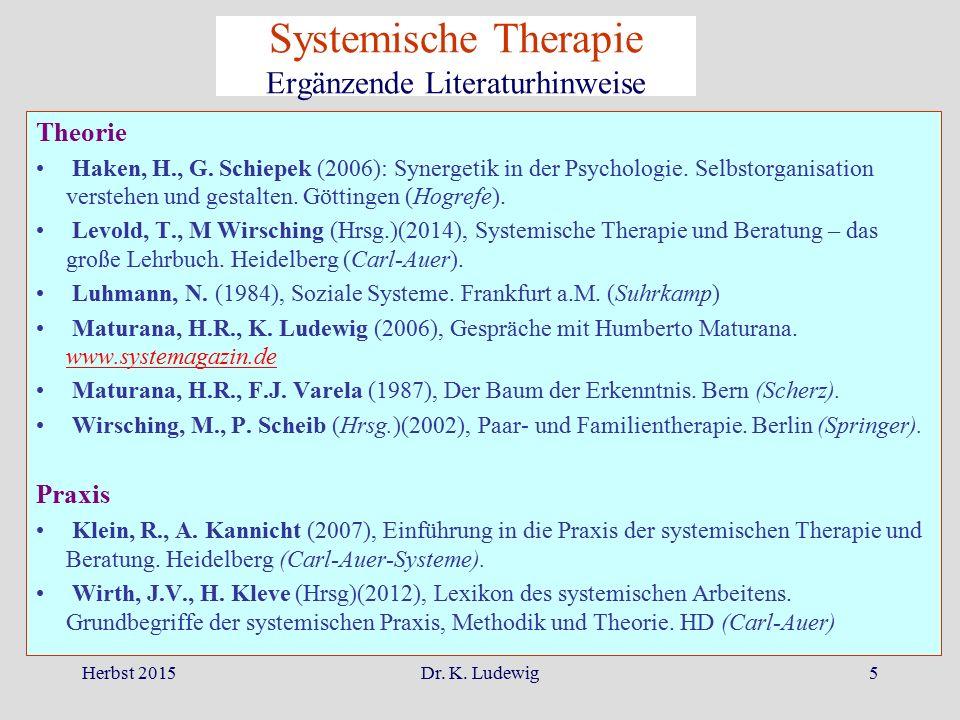Systemische Therapie Ergänzende Literaturhinweise