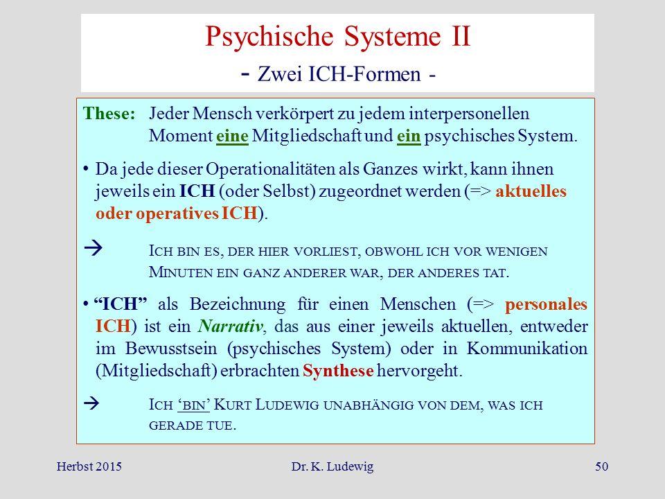 Psychische Systeme II - Zwei ICH-Formen -