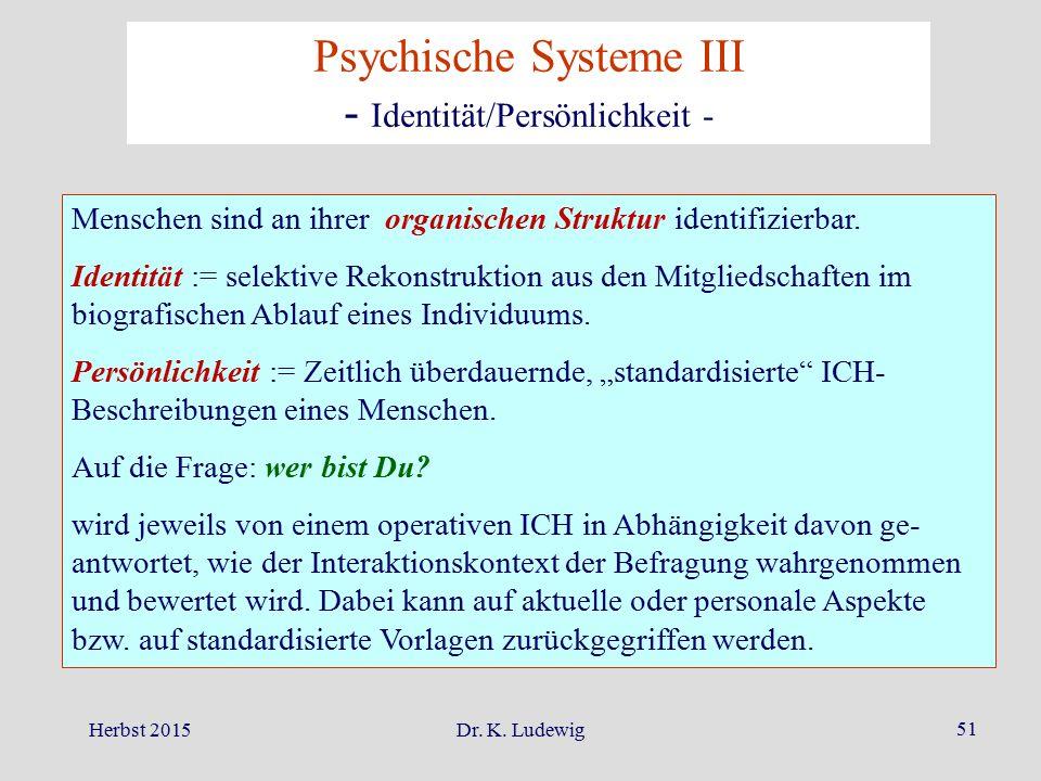 Psychische Systeme III - Identität/Persönlichkeit -