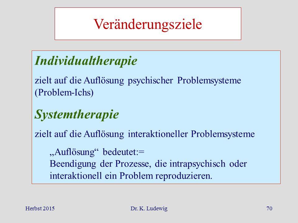 Veränderungsziele Individualtherapie Systemtherapie