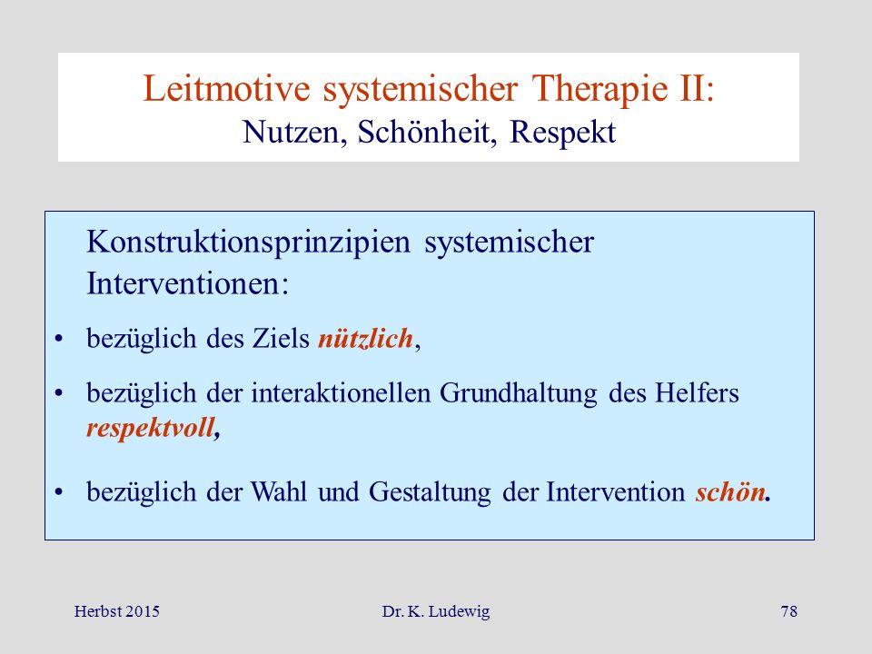 Leitmotive systemischer Therapie II: Nutzen, Schönheit, Respekt
