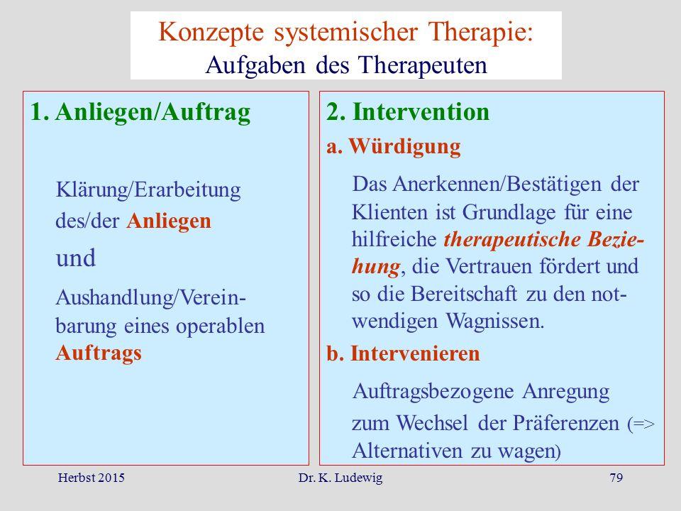 Konzepte systemischer Therapie: Aufgaben des Therapeuten