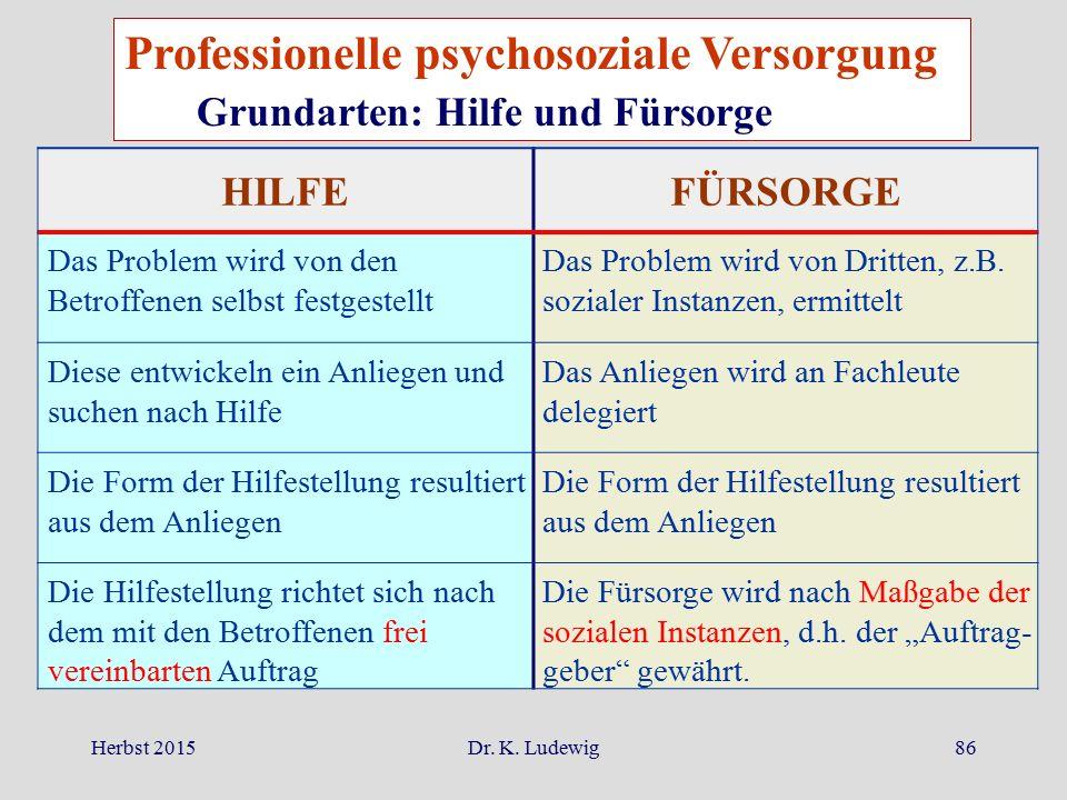 Professionelle psychosoziale Versorgung