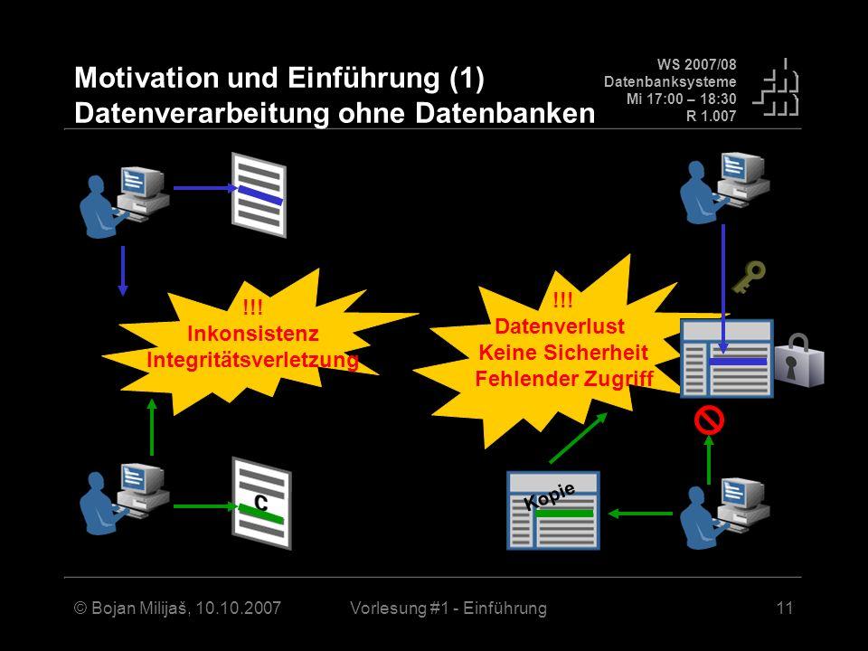 Motivation und Einführung (1) Datenverarbeitung ohne Datenbanken