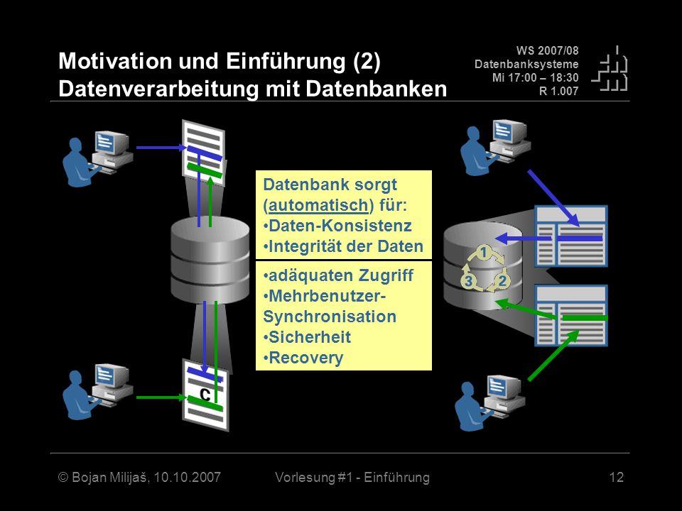 Motivation und Einführung (2) Datenverarbeitung mit Datenbanken