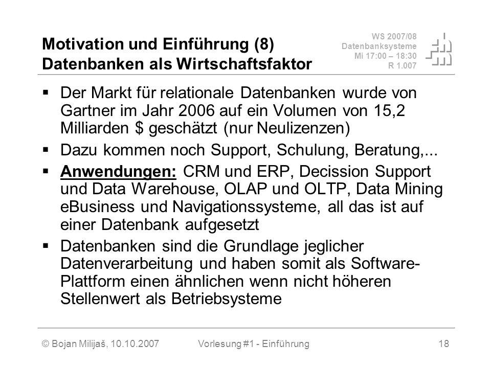 Motivation und Einführung (8) Datenbanken als Wirtschaftsfaktor