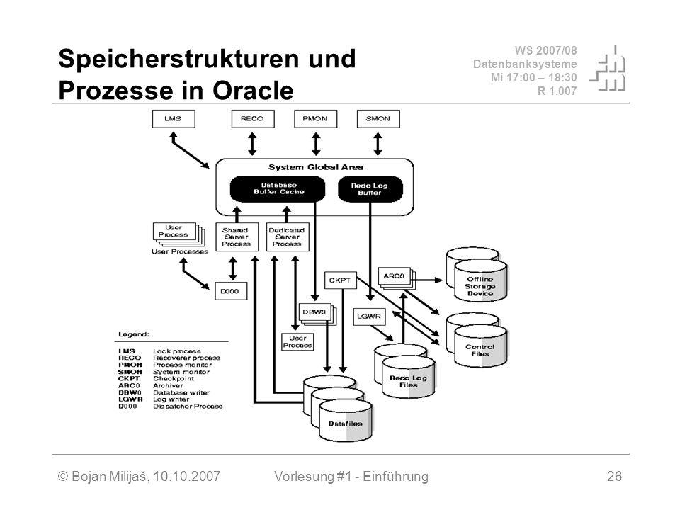 Speicherstrukturen und Prozesse in Oracle