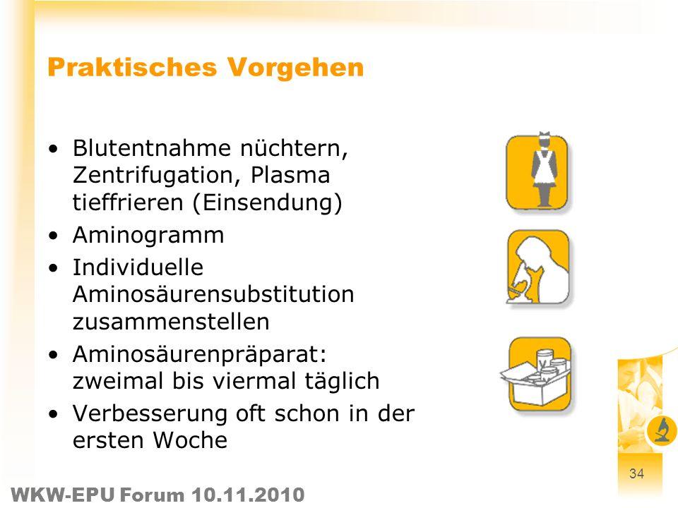Praktisches Vorgehen Blutentnahme nüchtern, Zentrifugation, Plasma tieffrieren (Einsendung) Aminogramm.