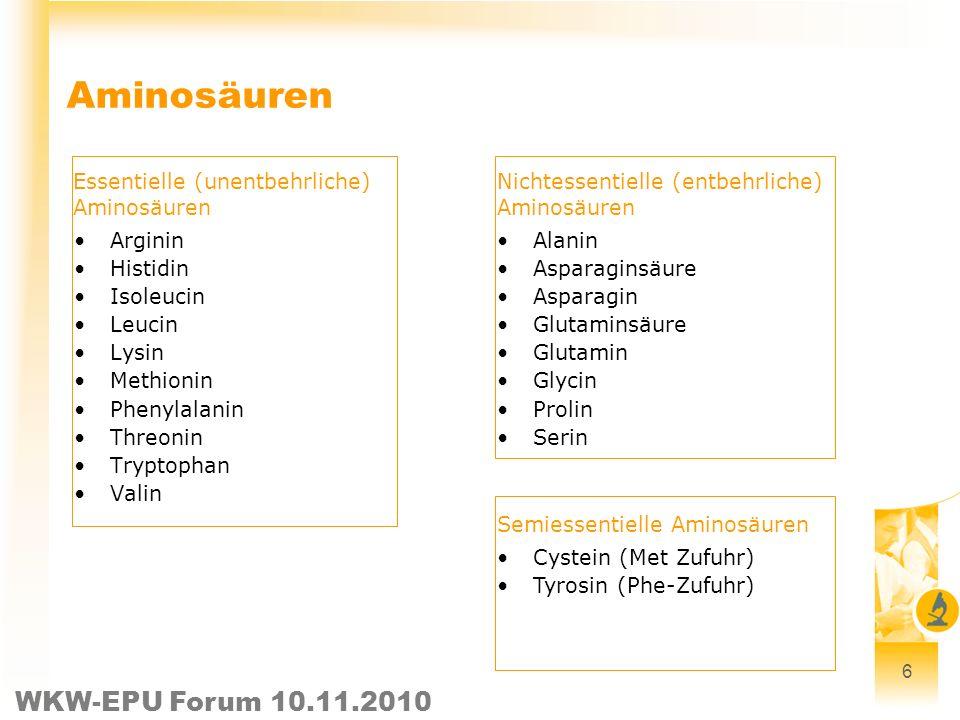 Aminosäuren Essentielle (unentbehrliche) Aminosäuren