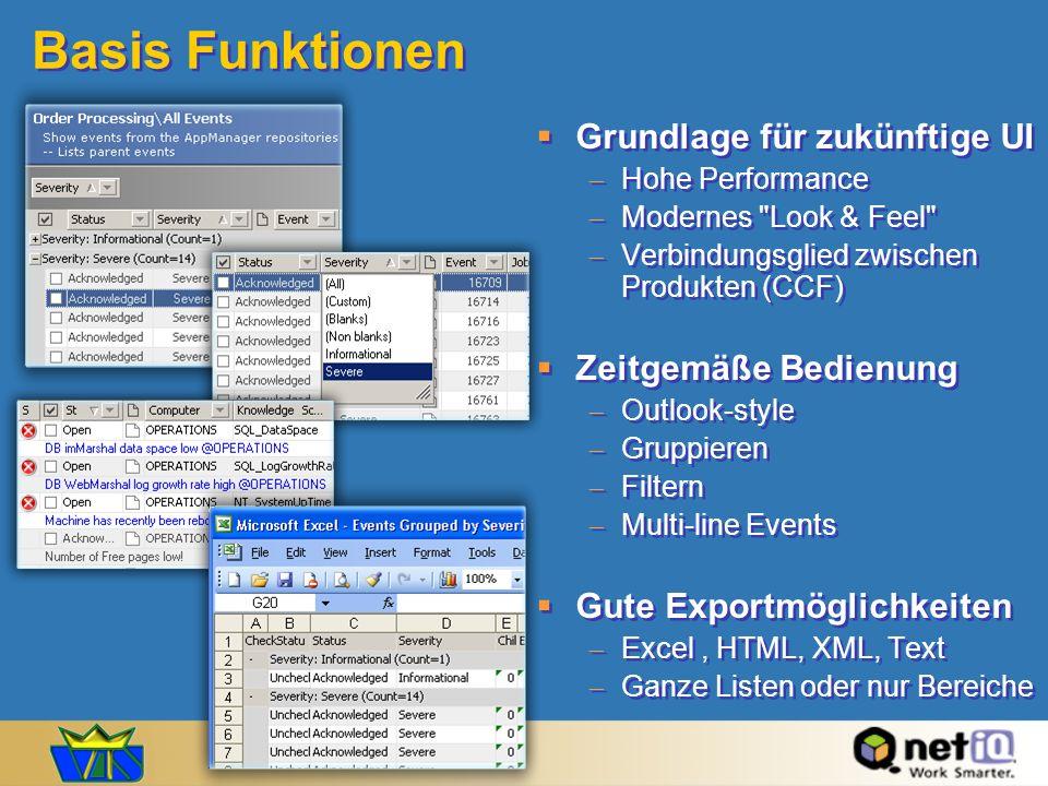 Basis Funktionen Grundlage für zukünftige UI Zeitgemäße Bedienung