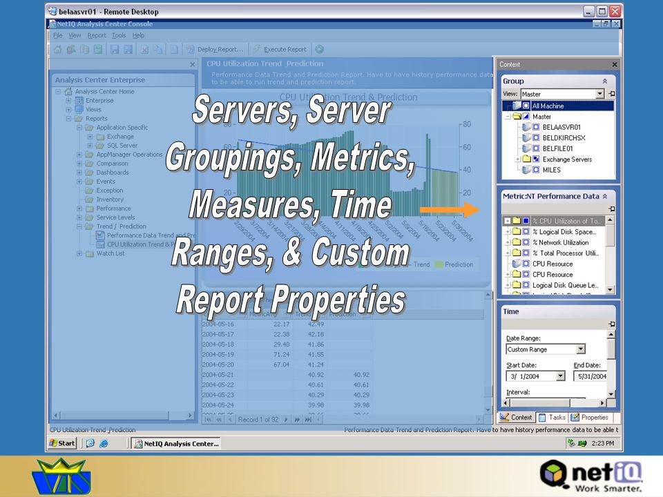 Servers, Server Groupings, Metrics, Measures, Time Ranges, & Custom Report Properties