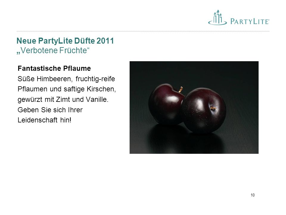 """Neue PartyLite Düfte 2011 """"Verbotene Früchte"""