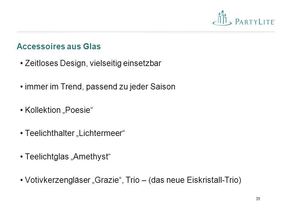 Accessoires aus Glas Zeitloses Design, vielseitig einsetzbar. immer im Trend, passend zu jeder Saison.