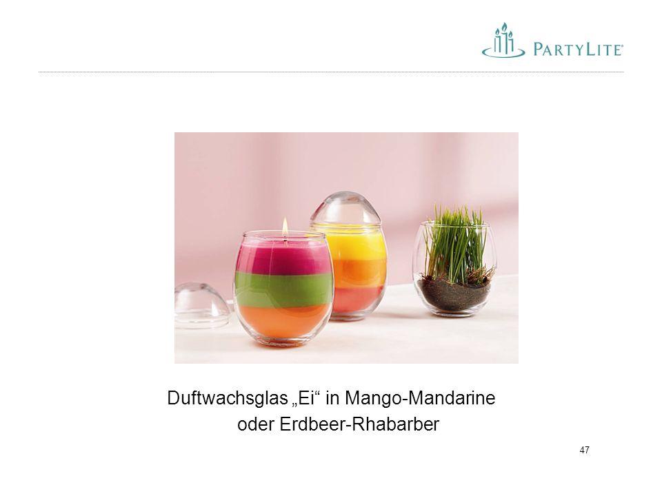 """Duftwachsglas """"Ei in Mango-Mandarine oder Erdbeer-Rhabarber"""