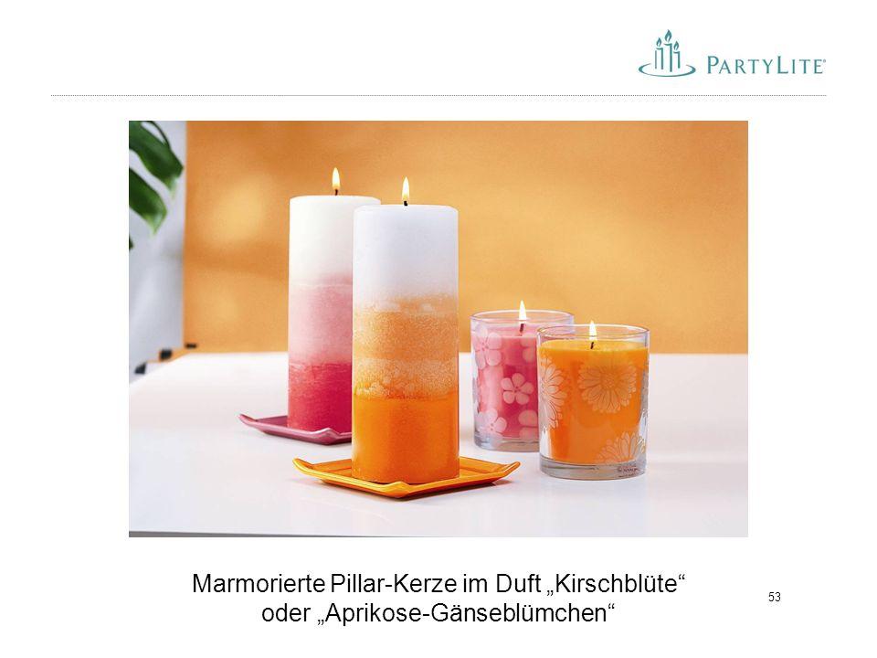 "Marmorierte Pillar-Kerze im Duft ""Kirschblüte oder ""Aprikose-Gänseblümchen"