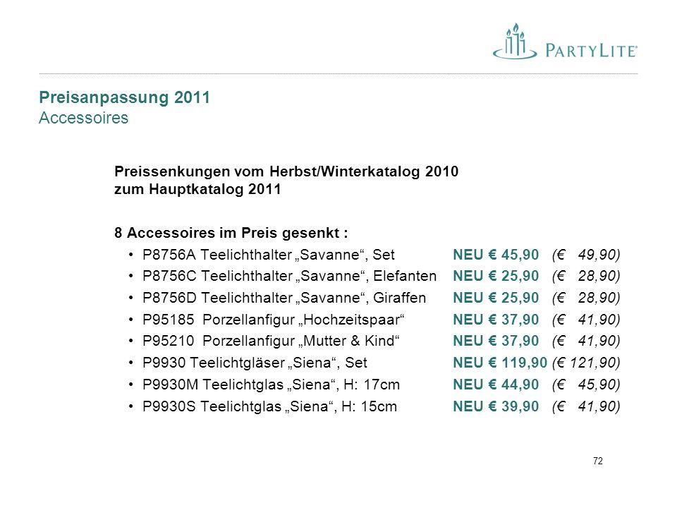 Preisanpassung 2011 Accessoires