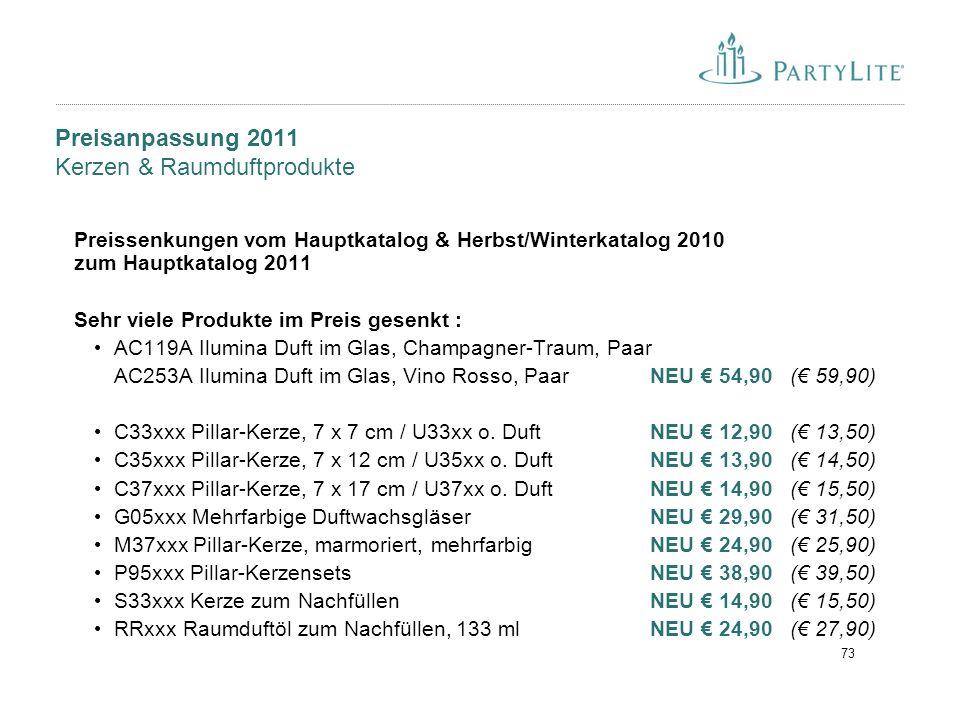 Preisanpassung 2011 Kerzen & Raumduftprodukte