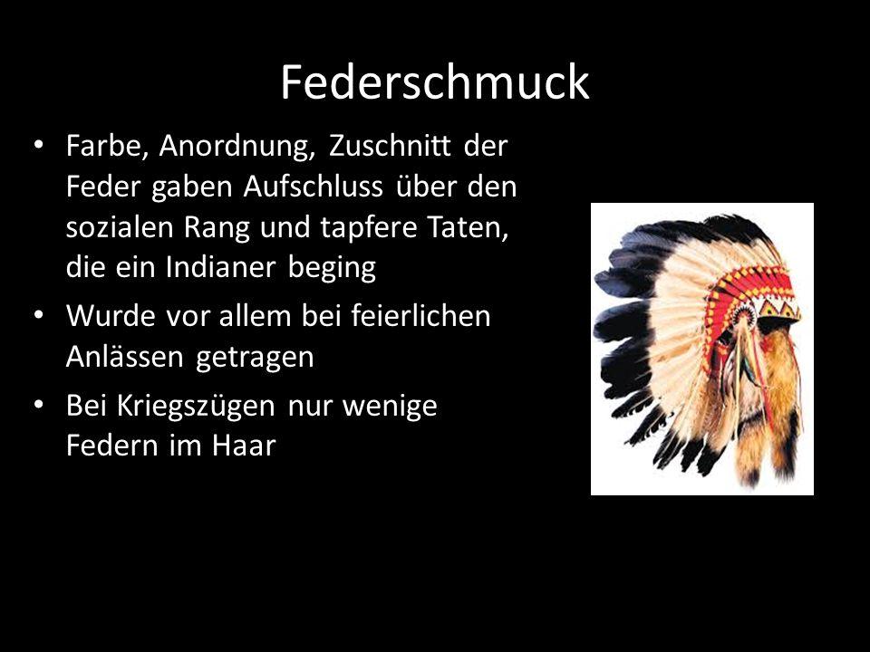 Federschmuck Farbe, Anordnung, Zuschnitt der Feder gaben Aufschluss über den sozialen Rang und tapfere Taten, die ein Indianer beging.