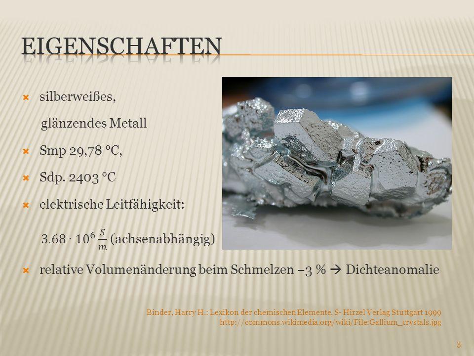 Eigenschaften silberweißes, glänzendes Metall Smp 29,78 °C,