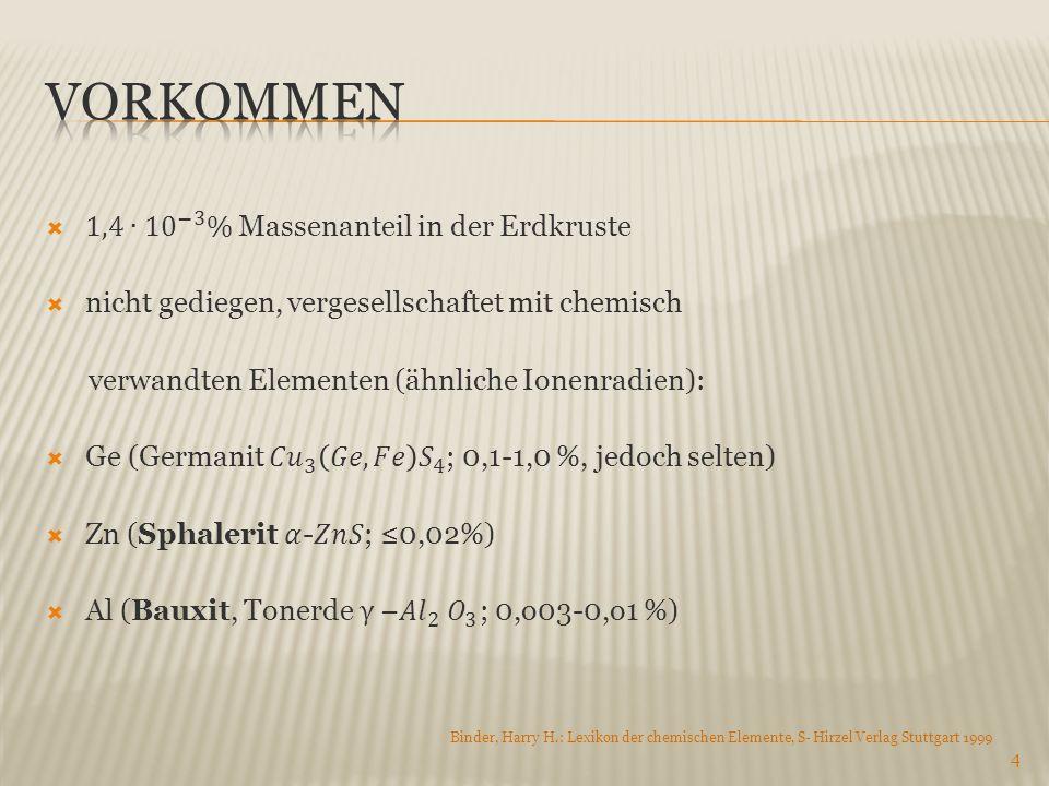 Vorkommen 1,4∙ 10 −3 % Massenanteil in der Erdkruste