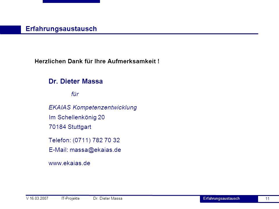 Erfahrungsaustausch Dr. Dieter Massa