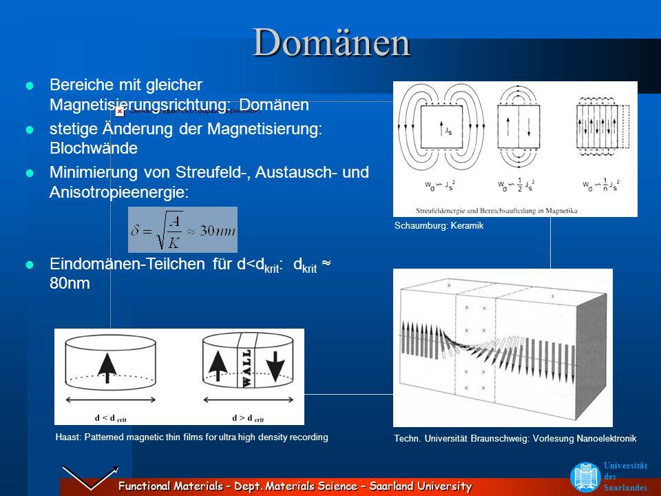 Domänen Bereiche mit gleicher Magnetisierungsrichtung: Domänen