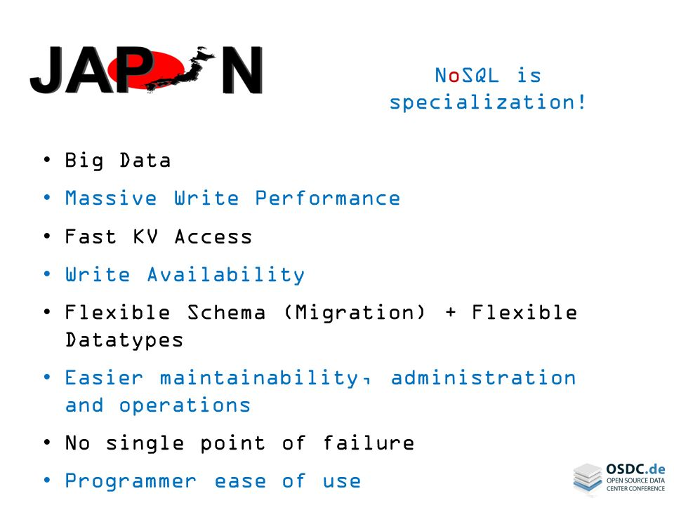 NoSQL is specialization!