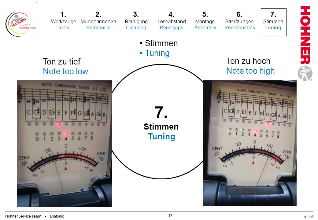7. Stimmen Tuning Ton zu tief Ton zu hoch Note too low Note too high