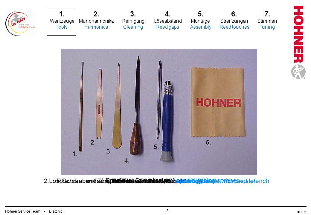 1. Werkzeuge. Tools. 2. 6. 5. 3. 1. 4. 2.Lösblättchen mit Zungen-Zentrierschlüssel/ reed lifting blade with reed wrench.