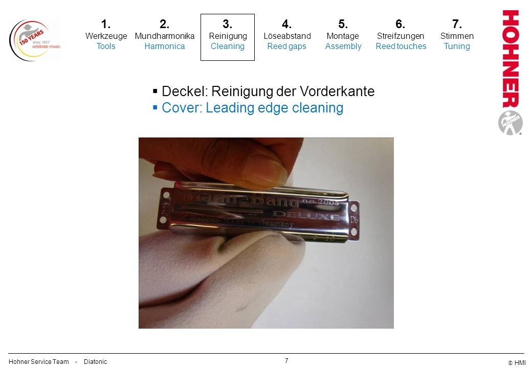 Deckel: Reinigung der Vorderkante Cover: Leading edge cleaning