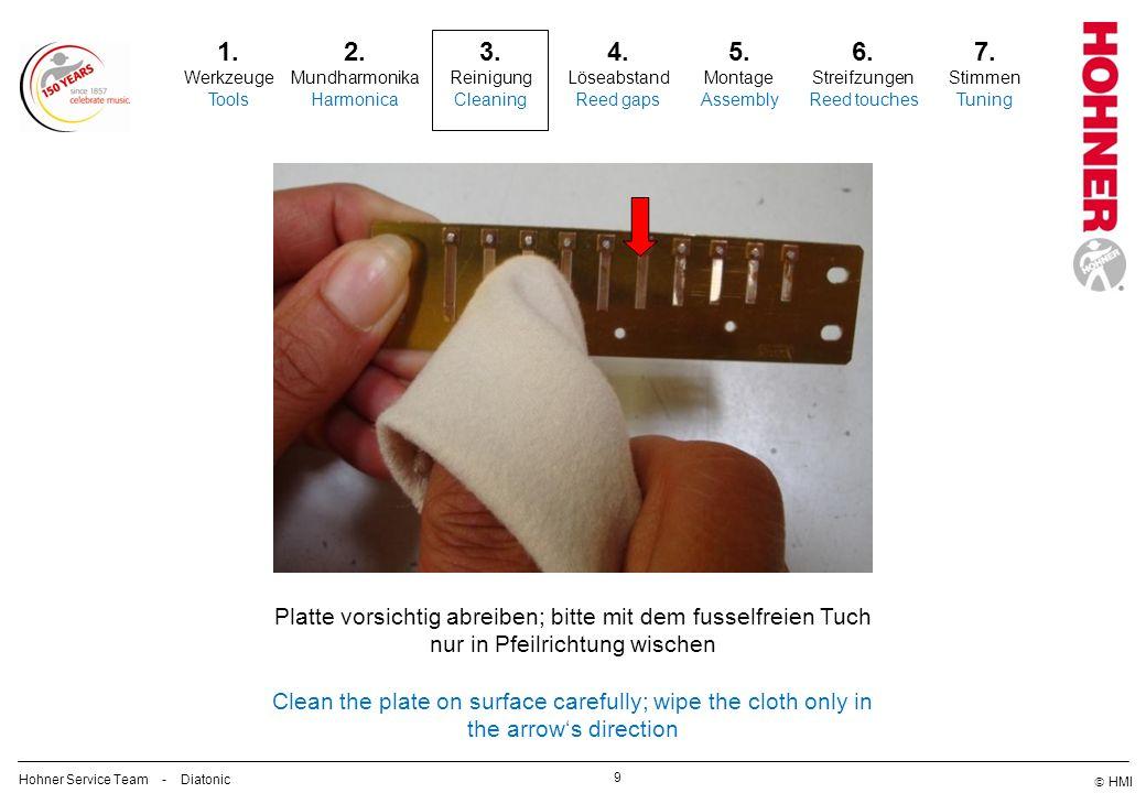 Platte vorsichtig abreiben; bitte mit dem fusselfreien Tuch nur in Pfeilrichtung wischen