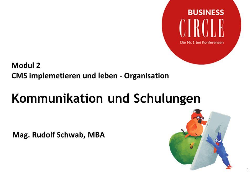 Modul 2 CMS implemetieren und leben - Organisation Kommunikation und Schulungen