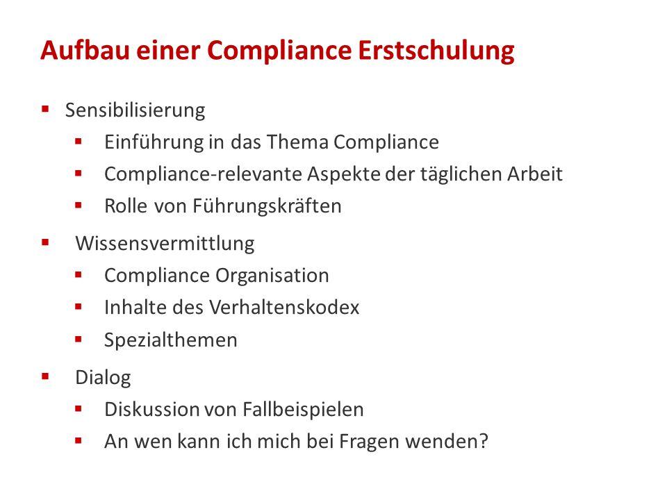 Aufbau einer Compliance Erstschulung