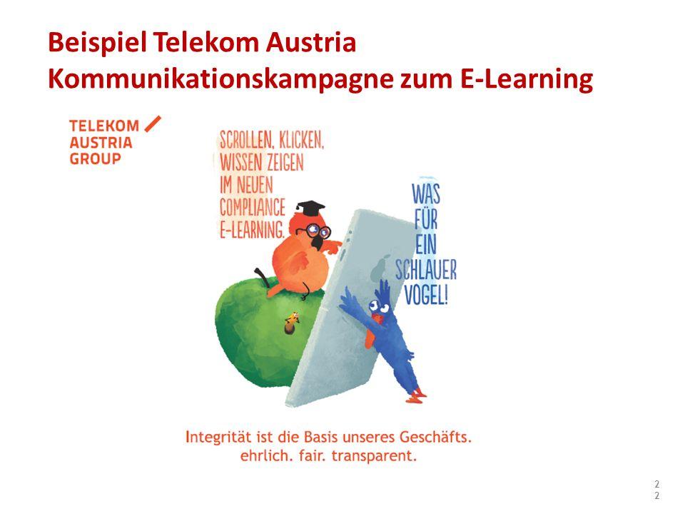 Beispiel Telekom Austria Kommunikationskampagne zum E-Learning