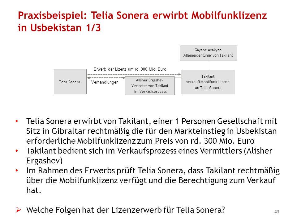 Praxisbeispiel: Telia Sonera erwirbt Mobilfunklizenz in Usbekistan 1/3