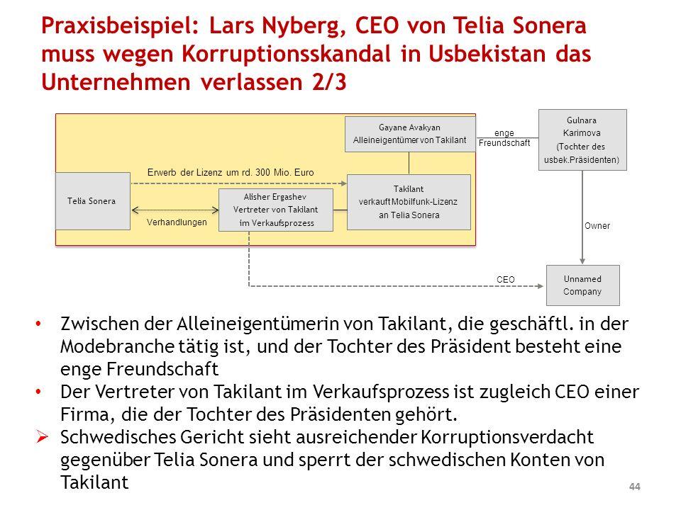 Praxisbeispiel: Lars Nyberg, CEO von Telia Sonera muss wegen Korruptionsskandal in Usbekistan das Unternehmen verlassen 2/3